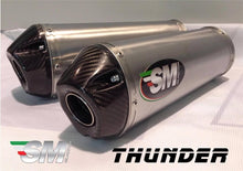 Load image into Gallery viewer, Ducati Monster 696 796 1100 Silmotor Exhaust Titanium Silencers With Carbon Caps