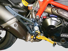 Load image into Gallery viewer, Ducabike Billet Adjustable Rearsets Rider Gold Ducati Hypermotard SP 821 Strada