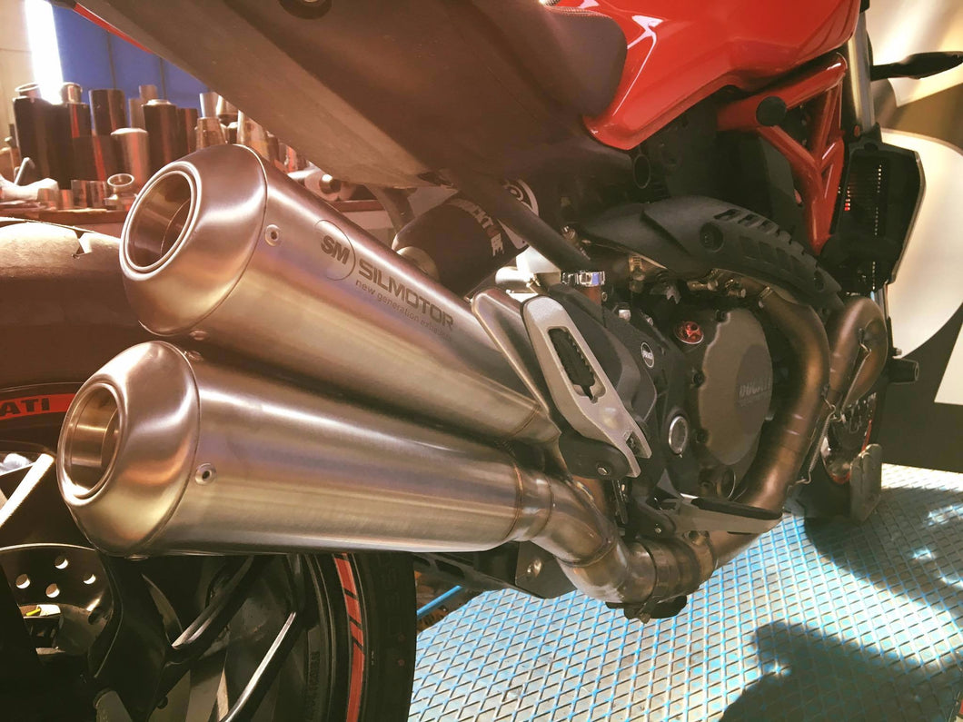 Ducati Monster 1200 Silmotor Exhaust Slipon Muffler Silencer Double Megaphone