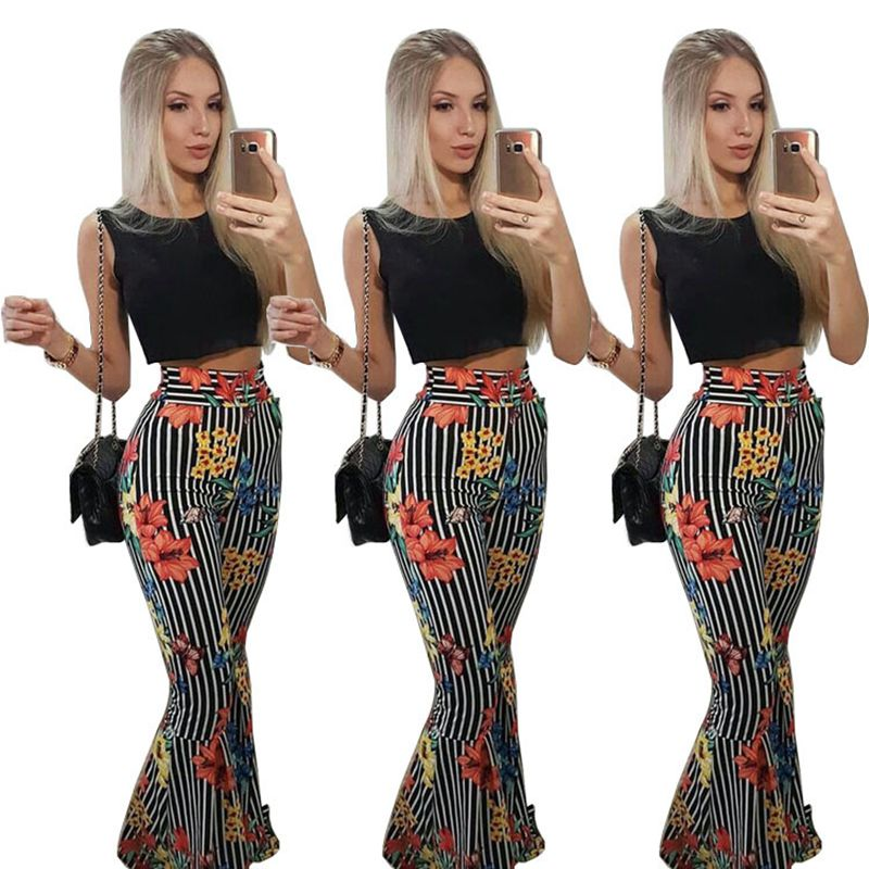 Women striped print loose full pants crop top summer 2 piece set - Realm Fashion