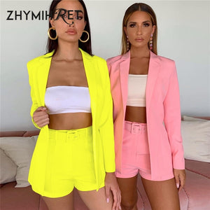 ZHYMIHRET 2019 Autumn Neon Color Blazer And Shorts Women 2 Piece Set - Realm Fashion