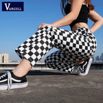 Vangull Plaid Pants Womens High Waist Checkered Pants Casual Fashion - Realm Fashion