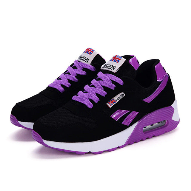 Women Air Cushion Sports Shoes Outdoor Running Lace Up Ladies - Realm Fashion