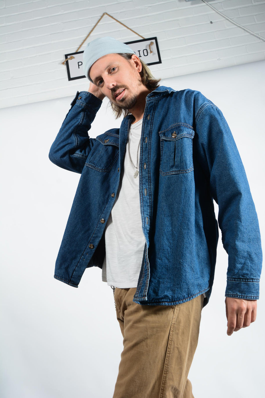 Vintage Denim Fleece Lined Shirt in Blue