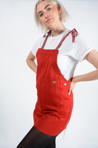 Reworked Dickies pinafore dress in red