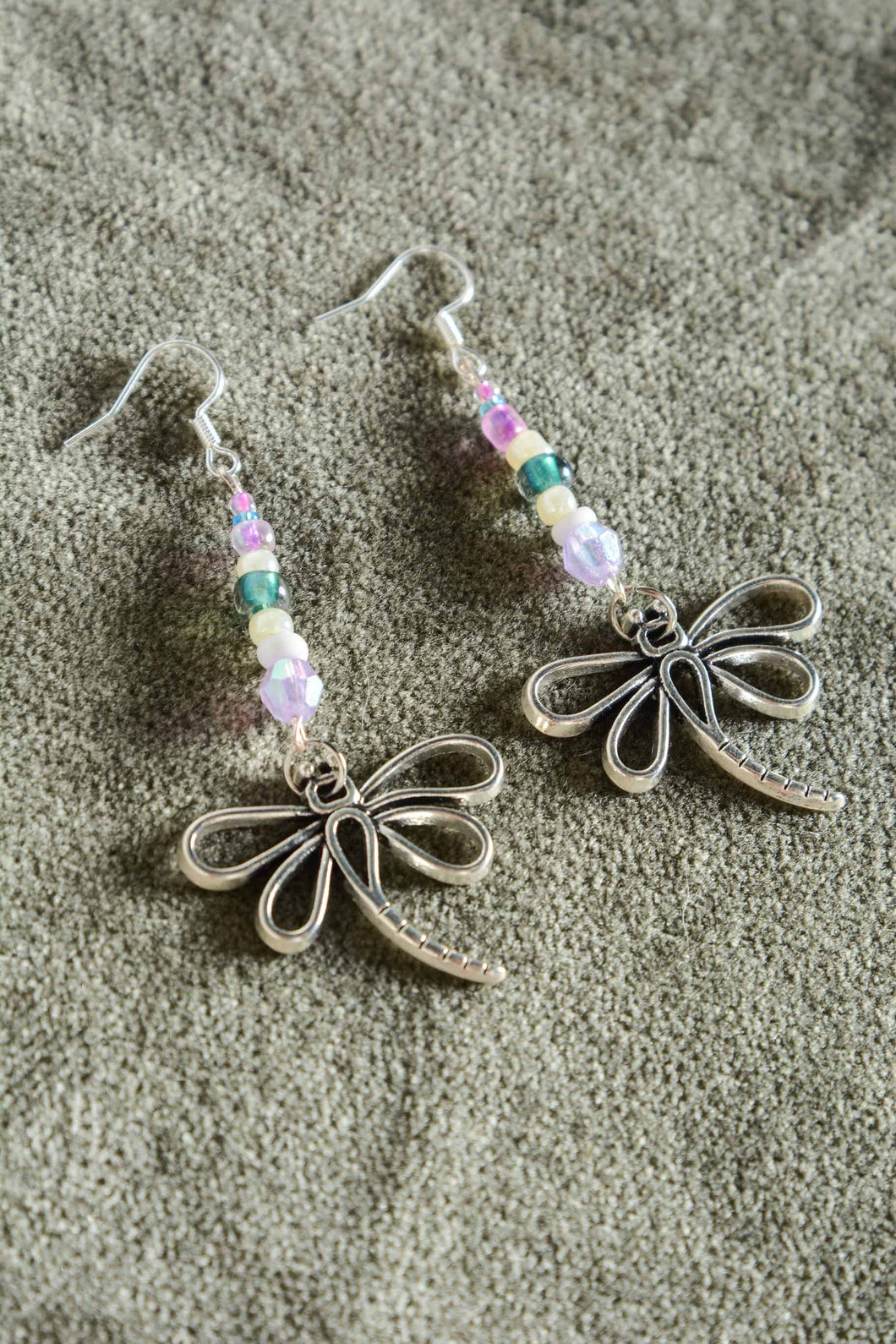 Bespoke handmade dragonfly earrings