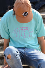 Load image into Gallery viewer, Mint YIFY T-shirt with pink outline logo