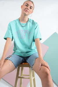 Mint YIFY T-shirt with pink outline logo
