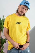 Load image into Gallery viewer, YIFY T-shirt in yellow with Parallel logo