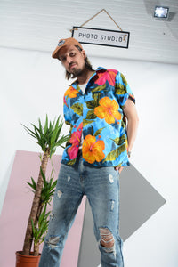 Vintage Hawaiian shirt in blue