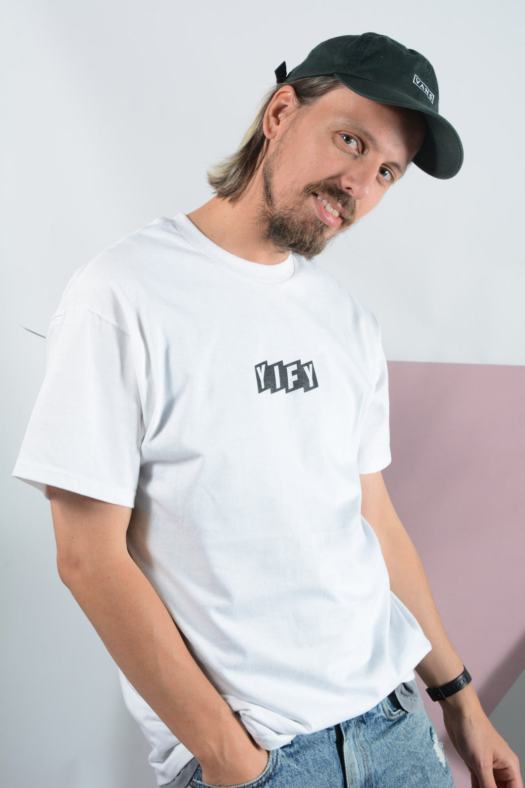 YIFY T-shirt in white with Parallel logo