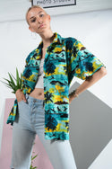 Vintage Hawaiian shirt in turquoise