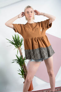 Reworked Carhartt t-shirt dress in brown
