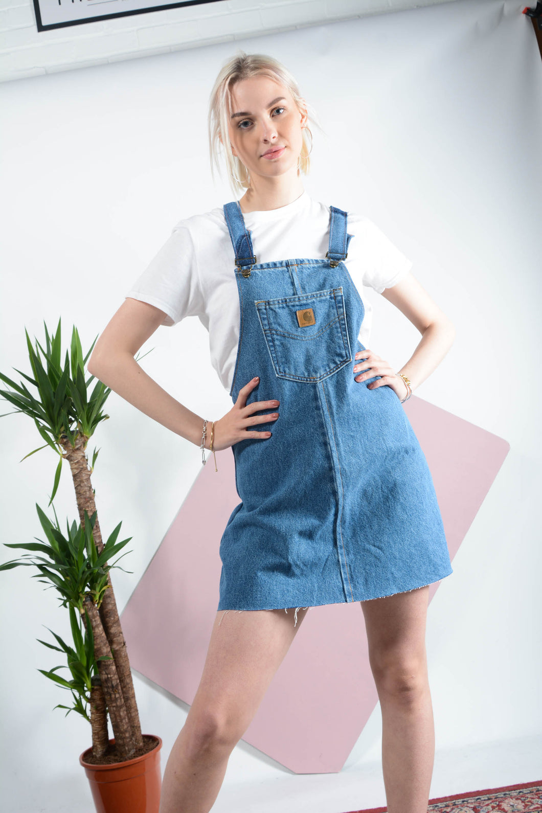 Reworked Carhartt denim pinafore dress