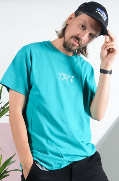 YIFY T-shirt in turquoise with 3D design
