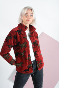 Vintage 90s Teddy Fleece Jacket with Horse Pattern