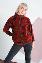 Load image into Gallery viewer, Vintage 90s Teddy Fleece Jacket with Horse Pattern