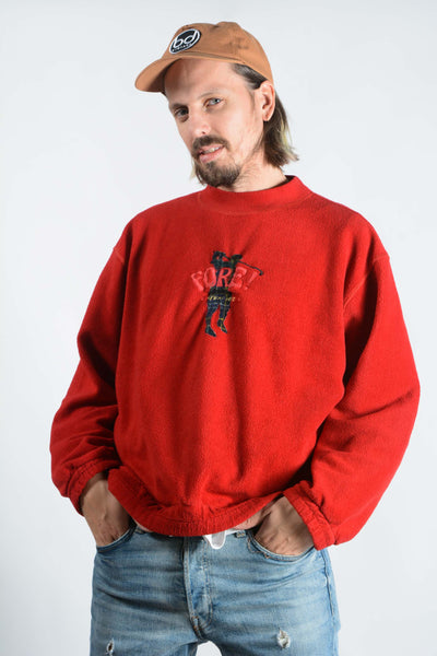 Vintage 90s Fleece Jumper in Red with Golf Embroidery