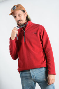 Vintage 1/4 Zip Fleece Jumper in Red