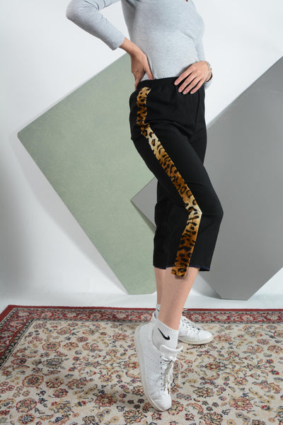 Reworked 3/4 Trousers with Animal Print Tape