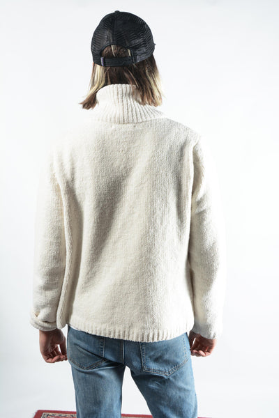Vintage Teddy Fleece Zip Up Jumper in Cream
