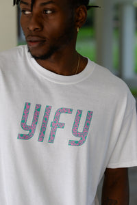 White YIFY Mottled T-shirt