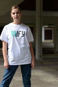 White 2tone YIFY T-shirt with green logo