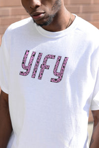 White YIFY t-shirt with purple mottled logo