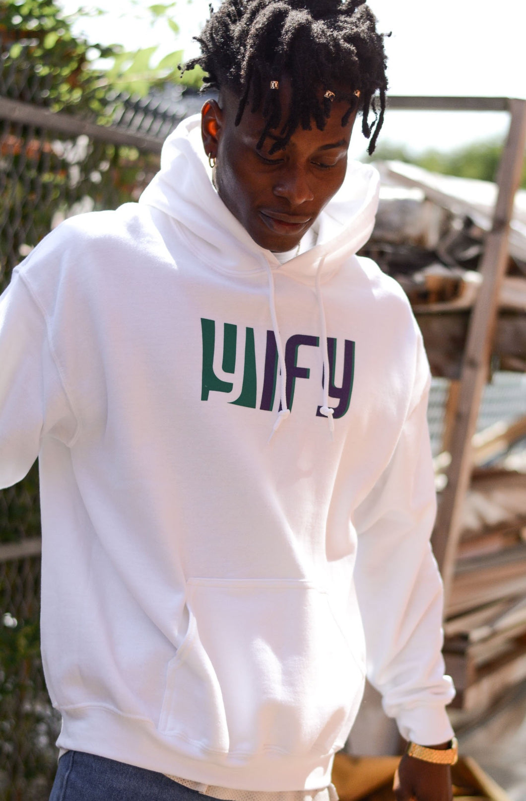 YIFY Hoodie in White with 2-Tone Logo