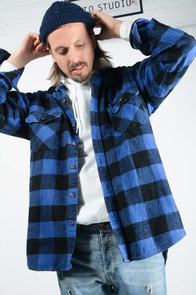 Vintage Check Flannel Shirt in Blue