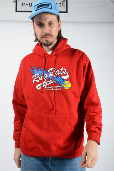 Vintage USA Softball Hoodie in Red