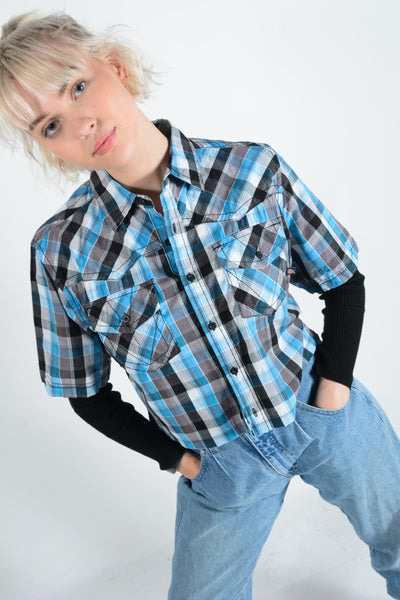 Cropped Dickies Check Shirt with Logo