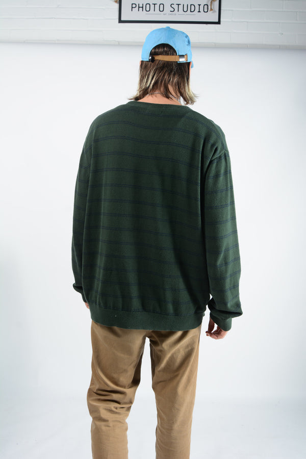 Vintage Nautica Jumper with Green Stripes