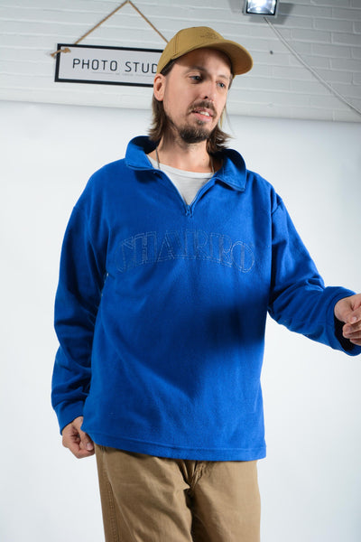 Vintage 1/4 zip fleece in blue