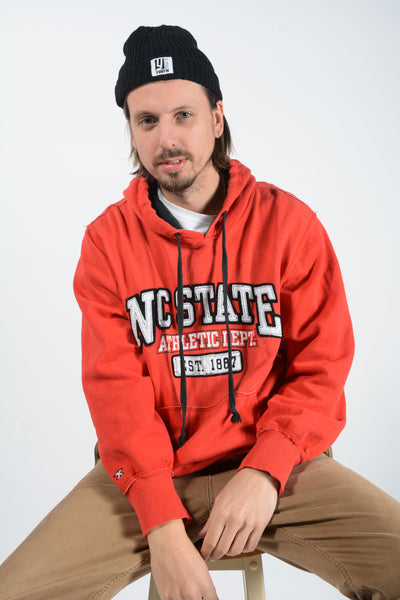 Vintage Hoodie in Red with USA patch logo