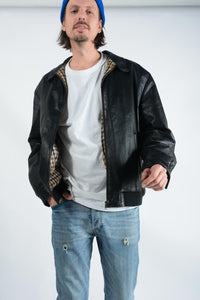Vintage Leather Bomber Jacket in Black - L