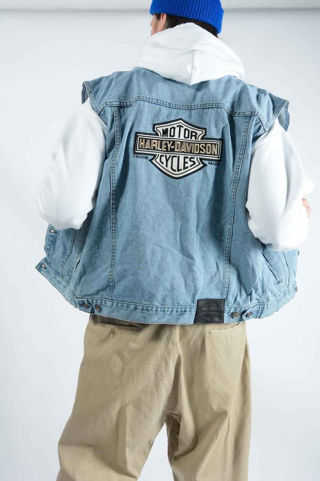 Vintage Harley Davidson Sleeveless Denim Jacket - L