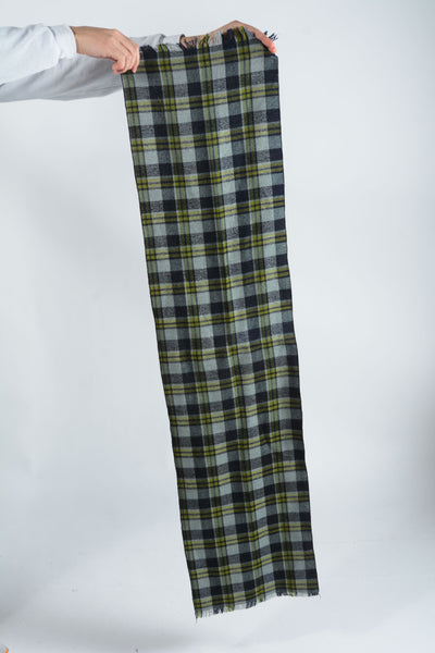 Vintage Scarf with Checks in Green - 1 Size