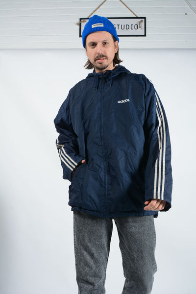Vintage Adidas Padded Sports Jacket in Blue - XL
