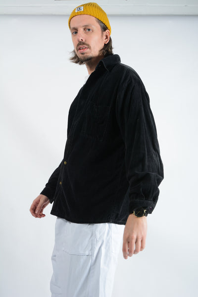 Vintage Corduroy Shirt in Black - L