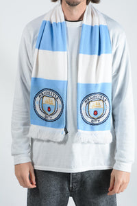 Vintage Scarf in Blue with Manchester City Football Print - 1 Size