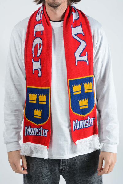 Vintage Munster Rugby Union Scarf in Red - 1 Size