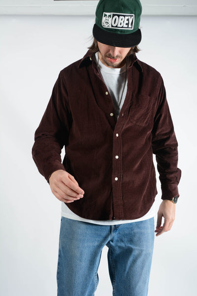 Vintage Gap Corduroy Shirt in Maroon - M