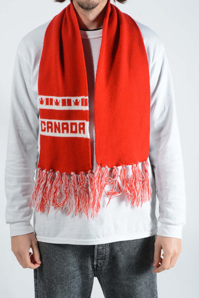 Vintage Scarf with Canada Print in Red - 1 Size