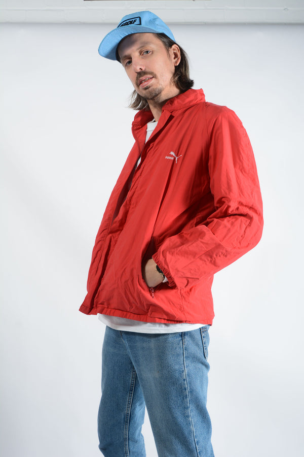 Vintage Puma Windbreaker Jacket Logo Red - L