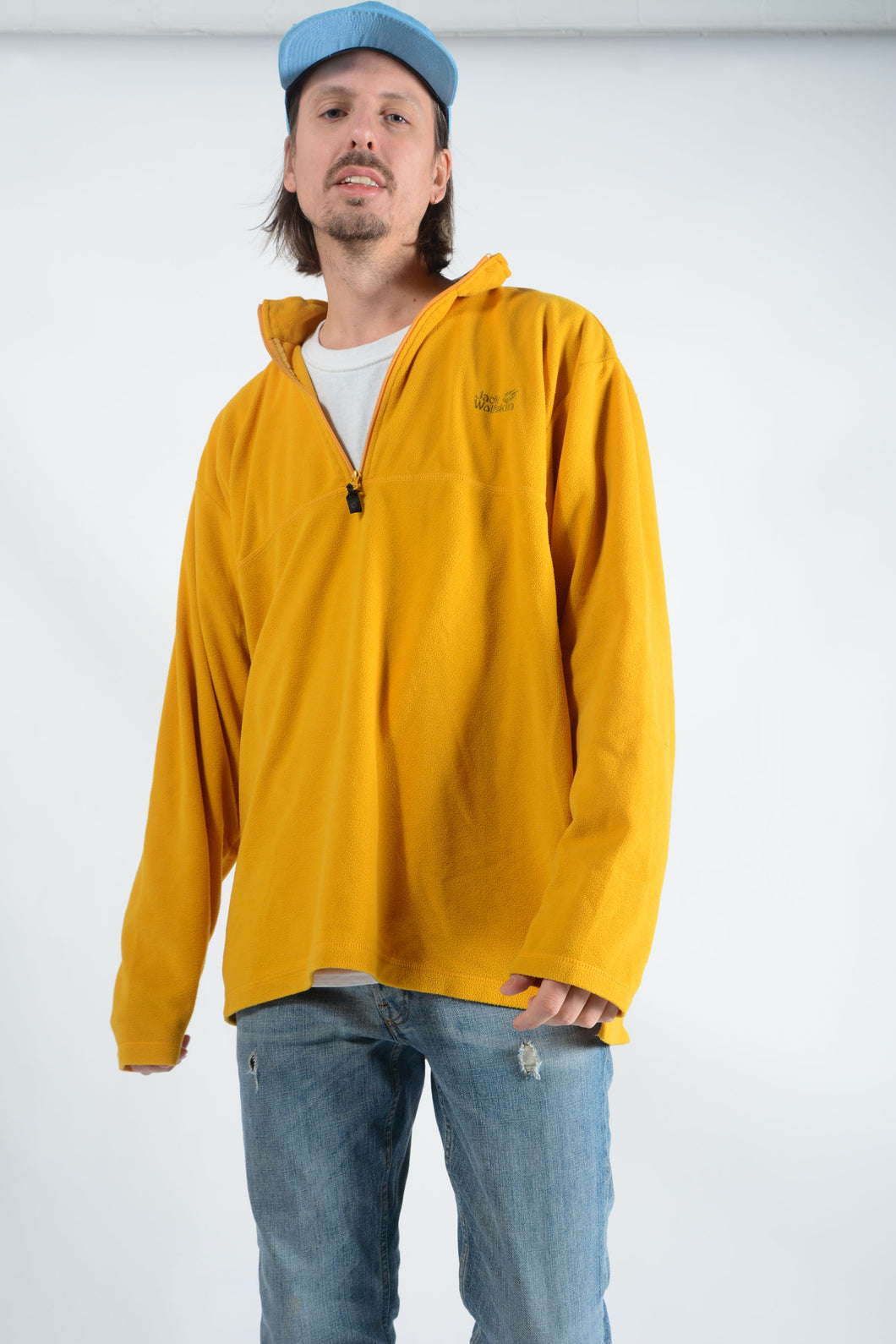 Vintage Jack Wolfskin 1/4 Zip Fleece in Yellow - 3XL