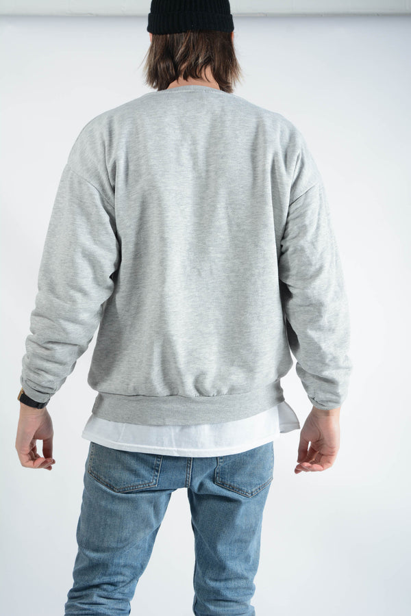 Vintage Graphic Print Sweatshirt in Grey - L