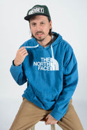 Vintage North Face Hoodie Spell Out Blue - XL