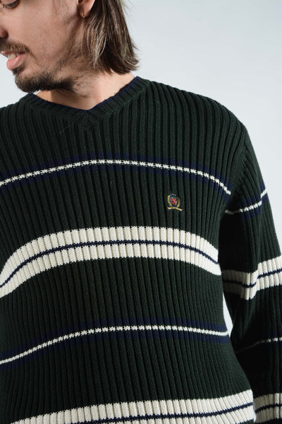 Vintage Tommy Hilfiger Striped Jumper in Green with Logo