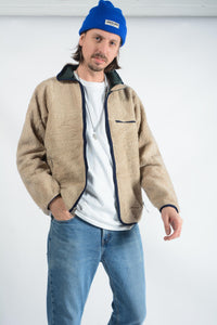 Vintage Patagonia Teddy Fleece Jacket in Beige - L